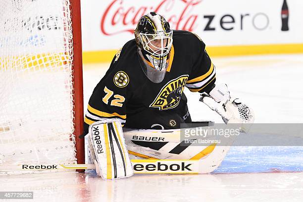 Niklas Svedberg of the Boston Bruins watches the play against the Colorado Avalanche at the TD Garden on October 13 2014 in Boston Massachusetts