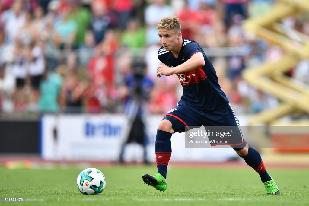 Niklas Tarnat of FC Bayern Muenchen plays the ball during the preseason friendly match between FSV Erlangen-Bruck and Bayern Muenchen at Adi Dassler Sportplatz on July 9, 2017 in Herzogenaurach, Germany.