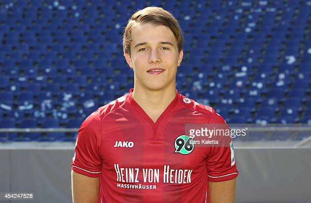 Niklas Teichgraber poses during the team presentation of Hannover 96 at HDIArena on August 27 2014 in Hanover Germany