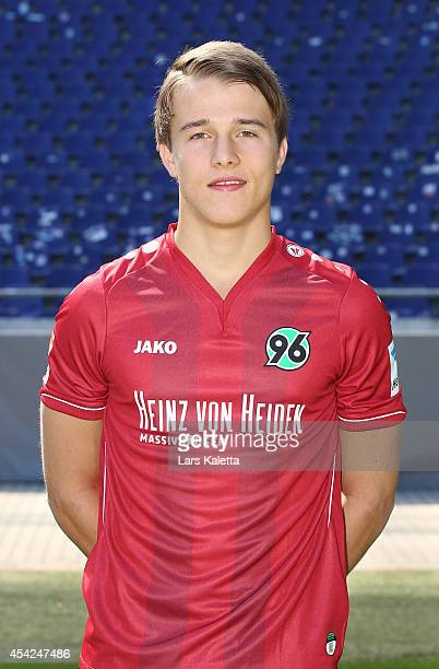 Niklas Teichgräber poses during the team presentation of Hannover 96 at HDIArena on August 27 2014 in Hanover Germany