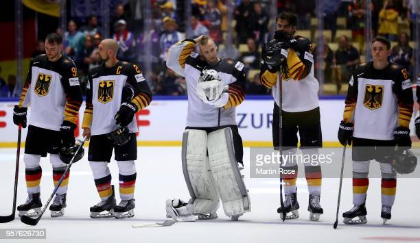 Niklas Treutle goaltender of Germany looks dejected after the 2018 IIHF Ice Hockey World Championship Group B game between Latvia and Germany at...