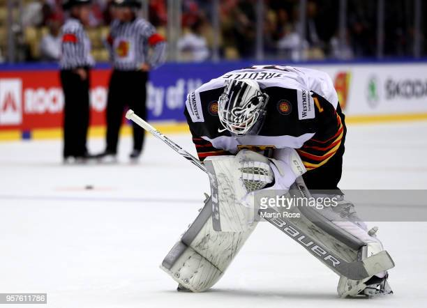 Niklas Treutle goaltender of Germany reacts during the 2018 IIHF Ice Hockey World Championship Group B game between Latvia and Germany at Jyske Bank...