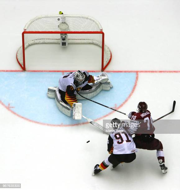 Niklas Treutle goaltender of Germany tends net against Latvia the 2018 IIHF Ice Hockey World Championship Group B game between Latvia and Germany at...