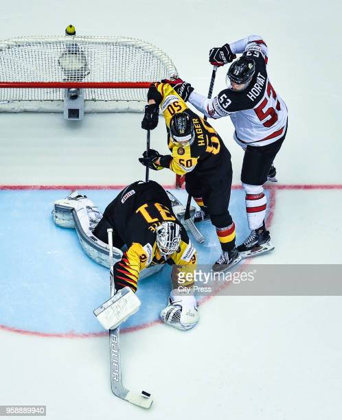 Niklas Treutle Patrick Hager of Team Germany and Bo Horvat of Team Canada during the IIHF World Championship game between Canada and Germany at Jyske...