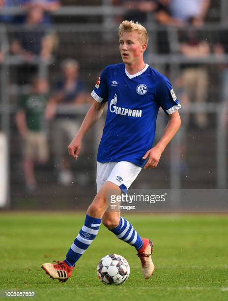 Niklas Wiemann of Schalke controls the ball during the Friendly match between Schwarz Weiss Essen and FC Schalke 04 on July 21 2018 in Essen Germany