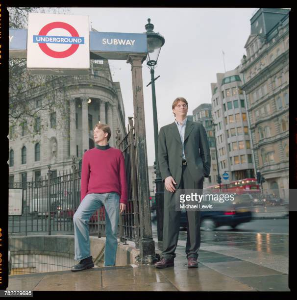 CEO Niklas Zennstrom and Vice President Janus Friis of Skype at an entrance to the Underground in London