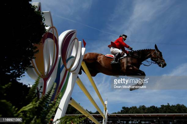 Niklaus Rutschi of Switzerland riding Cardano CH competes during Day 5 of the Longines FEI Jumping European Championship, Round 2 Team Final, Second...