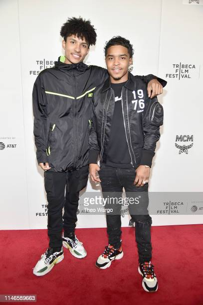 Niko Brim and Justin Combs attend the premiere of The Remix Hip Hop x Fashion at Tribeca Film Festival at Spring Studios on May 02 2019 in New York...