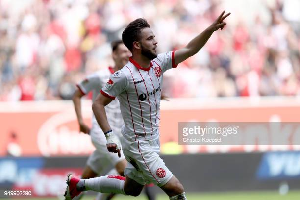 Niko Giesselmann of Duesseldorf celebrates the second during the Second Bundesliga match between Fortuna Duesseldorf and FC Ingolstadt 04 at...