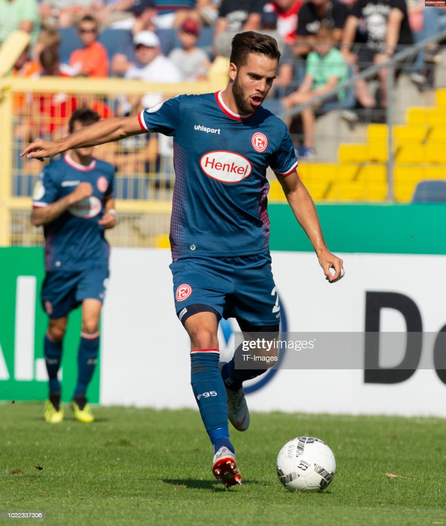 Niko Giesselmann of Fortuna Duesseldorf controls the ball during the DFB Cup first round match between TuS RW Koblenz and Fortuna Duesseldorf at Stadion Oberwerth on August 19, 2018 in Koblenz am Rhein, Germany.