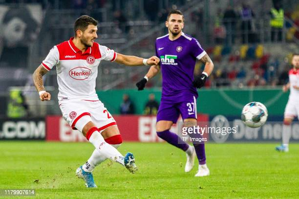 Niko Giesselmann of Fortuna Duesseldorf controls the ball during the DFB Cup second round match between Fortuna Duesseldorf and Erzgebirge Aue at...