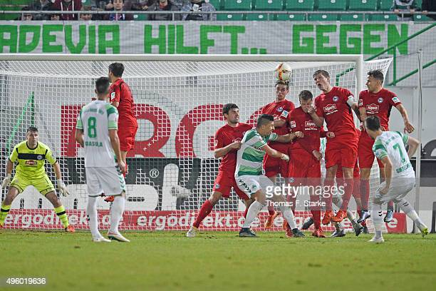 Niko Giesselmann of Fuerth misses to score during the Second Bundesliga match between Greuther Fuerth and Arminia Bielefeld at Stadion am Laubenweg...
