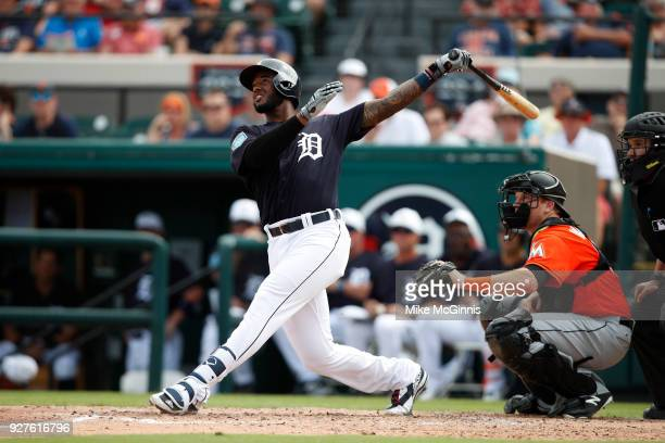 Niko Goddrum of the Detroit Tigers in action during a spring training game against the Miami Marlins at Joker Marchant Stadium on March 02 2018 in...