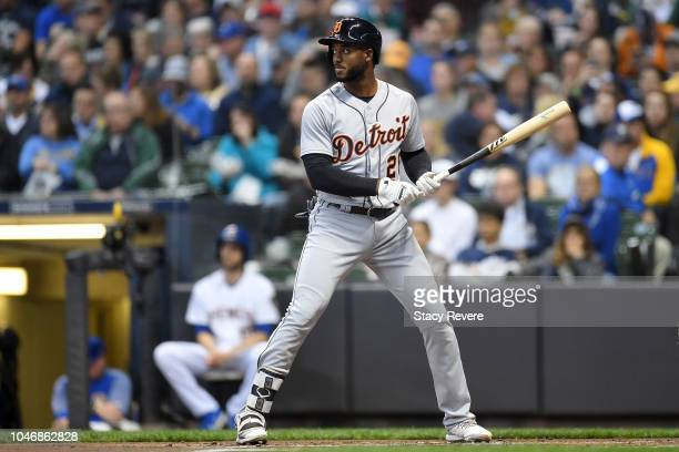 Niko Goodrum of the Detroit Tigers at bat during a game against the Milwaukee Brewers at Miller Park on September 28 2018 in Milwaukee Wisconsin The...