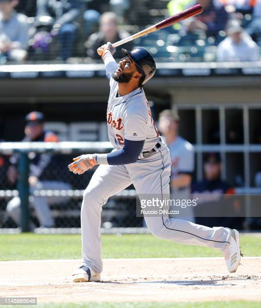 Niko Goodrum of the Detroit Tigers at bat during the first inning of a game against the Chicago White Sox at Guaranteed Rate Field on April 28 2019...