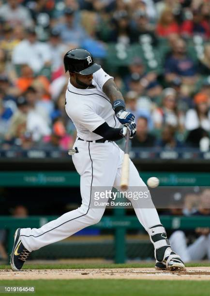 Niko Goodrum of the Detroit Tigers bats against the Boston Red Sox at Comerica Park on July 21 2018 in Detroit Michigan