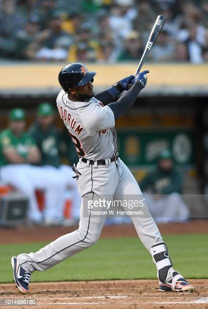 Niko Goodrum of the Detroit Tigers bats against the Oakland Athletics in the top of the fourth inning at Oakland Alameda Coliseum on August 3 2018 in...