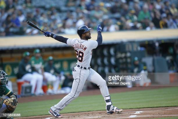 Niko Goodrum of the Detroit Tigers bats during the game against the Oakland Athletics at the Oakland Alameda Coliseum on August 3 2018 in Oakland...