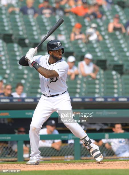 Niko Goodrum of the Detroit Tigers bats during the game against the Chicago White Sox at Comerica Park on August 26 2018 in Detroit Michigan The...