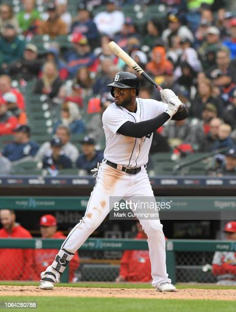 Niko Goodrum of the Detroit Tigers bats during the game against the St Louis Cardinals at Comerica Park on September 9 2018 in Detroit Michigan The...