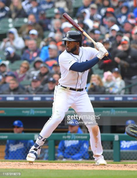Niko Goodrum of the Detroit Tigers bats during the Opening Day game against the Kansas City Royals at Comerica Park on April 4 2019 in Detroit...