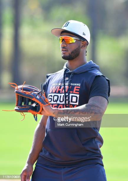 Niko Goodrum of the Detroit Tigers catches a baseball during Spring Training workouts at the TigerTown Complex on February 15 2019 in Lakeland Florida