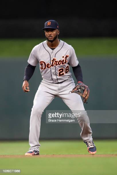 Niko Goodrum of the Detroit Tigers fields against the Minnesota Twins on August 17 2018 at Target Field in Minneapolis Minnesota The Twins defeated...