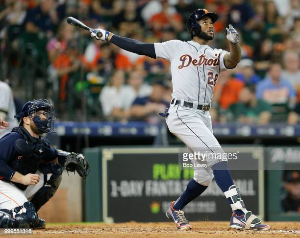 Niko Goodrum of the Detroit Tigers hits a home run in the sixth inning against the Houston Astros at Minute Maid Park on July 15 2018 in Houston Texas