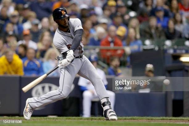 Niko Goodrum of the Detroit Tigers hits a single in the first inning against the Milwaukee Brewers at Miller Park on September 29 2018 in Milwaukee...