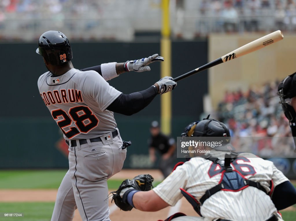 Niko Goodrum #28 of the Detroit Tigers hits a two-run home run against the Minnesota Twins during the fourth inning of the game on May 23, 2018 at Target Field in Minneapolis, Minnesota. The Tigers defeated the Twins 4-1.