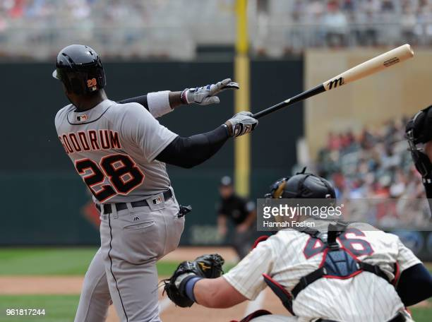 Niko Goodrum of the Detroit Tigers hits a tworun home run against the Minnesota Twins during the fourth inning of the game on May 23 2018 at Target...