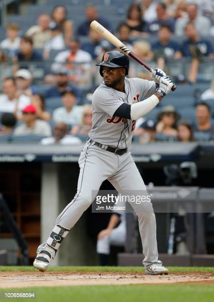 Niko Goodrum of the Detroit Tigers in action against the New York Yankees at Yankee Stadium on September 2 2018 in the Bronx borough of New York City...