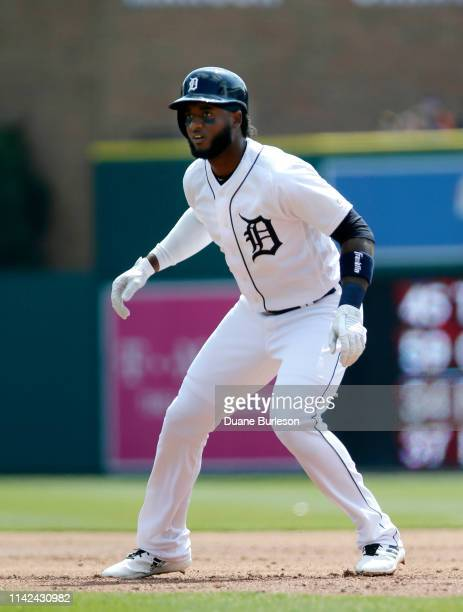 Niko Goodrum of the Detroit Tigers leads off first base against the Kansas City Royals at Comerica Park on April 6 2019 in Detroit Michigan