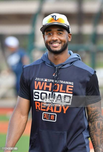 Niko Goodrum of the Detroit Tigers looks on during Spring Training workouts at the TigerTown Complex on February 12 2019 in Lakeland Florida