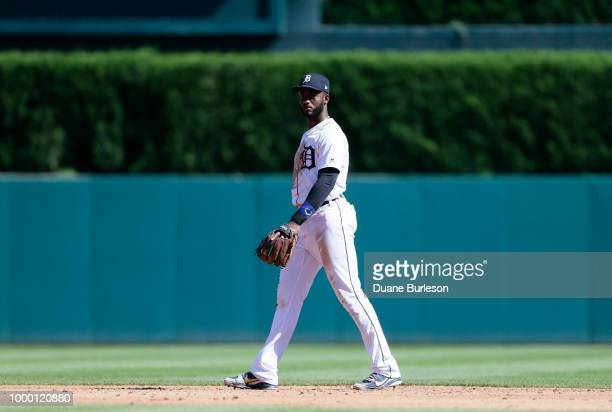 Niko Goodrum of the Detroit Tigers plays second base against the Texas Rangers at Comerica Park on July 7 2018 in Detroit Michigan