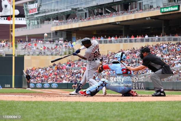 Niko Goodrum of the Detroit Tigers rounds third base after hitting a home run in the second inning against the Minnesota Twins at Target Field on...