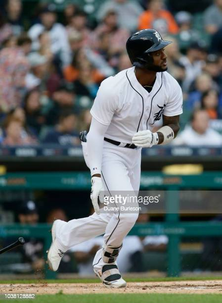 Niko Goodrum of the Detroit Tigers singles to drive in Nicholas Castellanos against the Kansas City Royals during the first inning at Comerica Park...