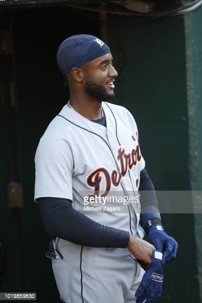 Niko Goodrum of the Detroit Tigers stands in the dugout prior to the game against the Oakland Athletics at the Oakland Alameda Coliseum on August 3...