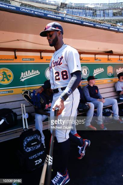 Niko Goodrum of the Detroit Tigers stands in the dugout prior to the game against the Oakland Athletics at the Oakland Alameda Coliseum on August 5...