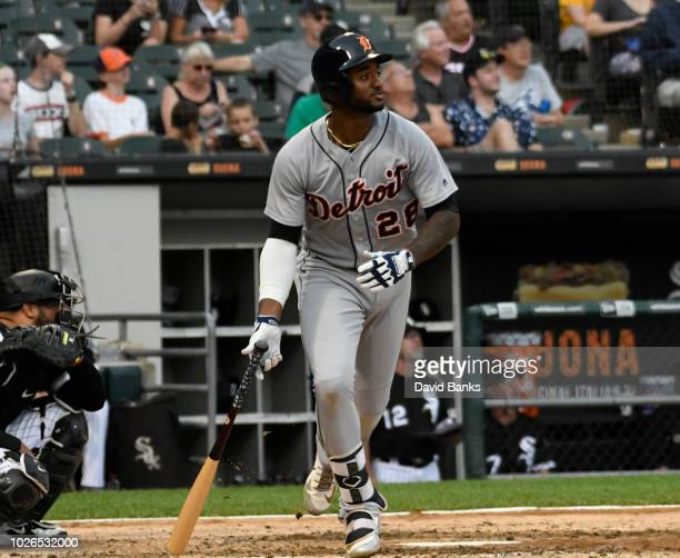 Niko Goodrum of the Detroit Tigers watches his home run against the Chicago White Sox during the seventh inning on September 3 2018 at Guaranteed...