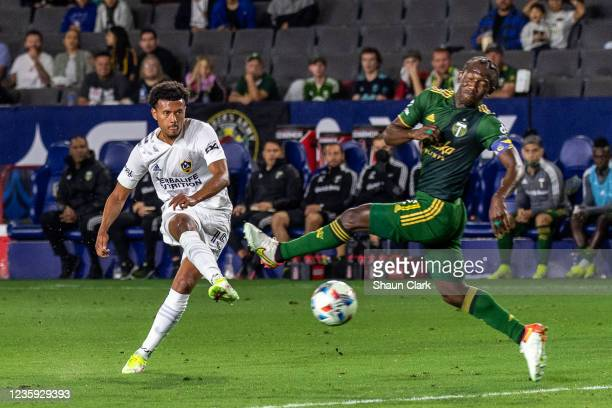 Niko Hamalainen of Los Angeles Galaxy shoots the ball during the game against Portland Timbers at the Dignity Health Sports Park on October 16, 2021...