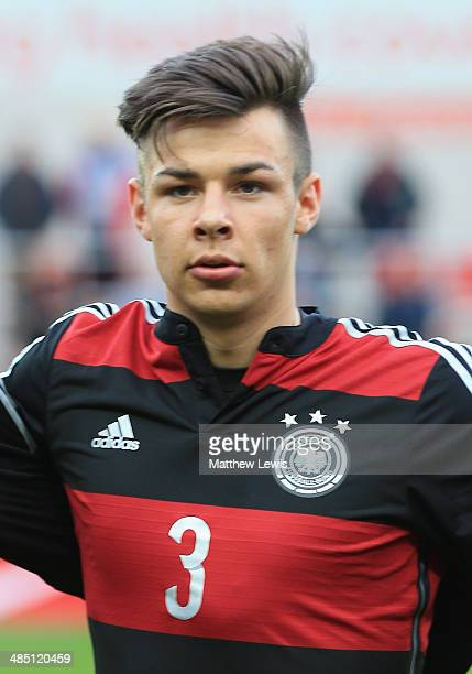 Niko Kijewski of Germany in action during the Under 18 International Friendly match between England U18 and Germany U18 at The New York Stadium on...