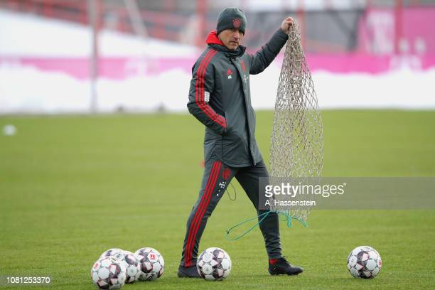 Niko Kovac, head coach of Bayern Muenchen reacts during a Bayern Muenchen training session at Saebener Strasse training ground on January 12, 2019 in...