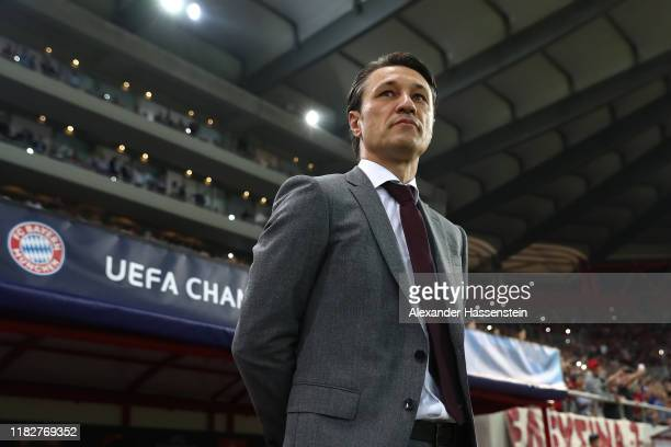 Niko Kovac, head coach of FC Bayern München looks on prior to the UEFA Champions League group B match between Olympiacos FC and Bayern Muenchen at...