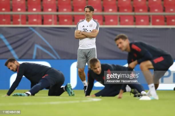 Niko Kovac head coach of FC Bayern Muenchen looks on during a training session at Karaiskakis Stadium on October 21 2019 in Piraeus Greece FC Bayern...