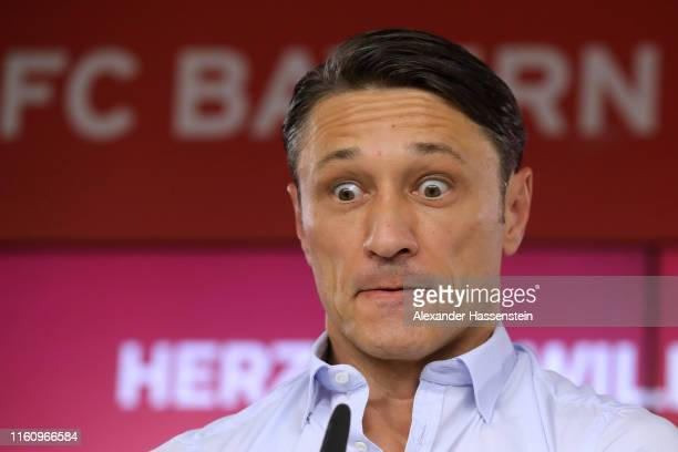 Niko Kovac head coach of FC Bayern Muenchen reacts during a press conference to announce new signing JannFiete Arp at Saebener Strasse training...