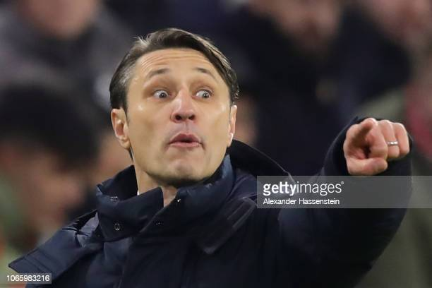 Niko Kovac head coach of FC Bayern Muenchen reacts during the Group E match of the UEFA Champions League between FC Bayern Muenchen and SL Benfica at...