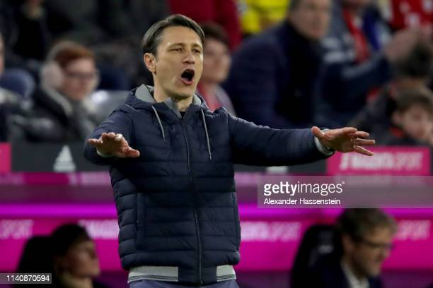 Niko Kovac head coach of FC Bayern Muenchen reacts during the Bundesliga match between FC Bayern Muenchen and Borussia Dortmund at Allianz Arena on...