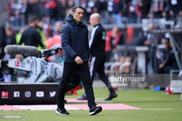 Niko Kovac Head Coach of FC Bayern Munich reacts after Djibril Sow of Eintracht Frankfurt scored their team's second goal during the Bundesliga match...