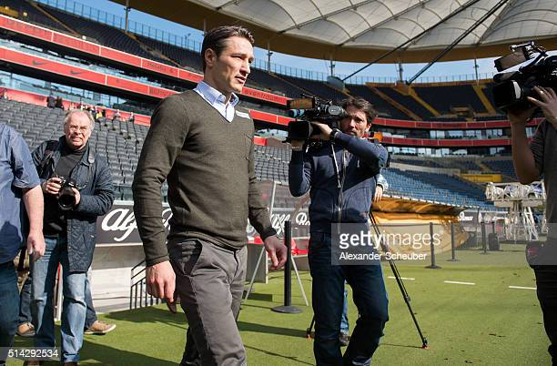 Niko Kovac is presented as the new head coach of Eintracht Frankfurt during a press conference at CommerzbankArena on March 8 2016 in Frankfurt am...